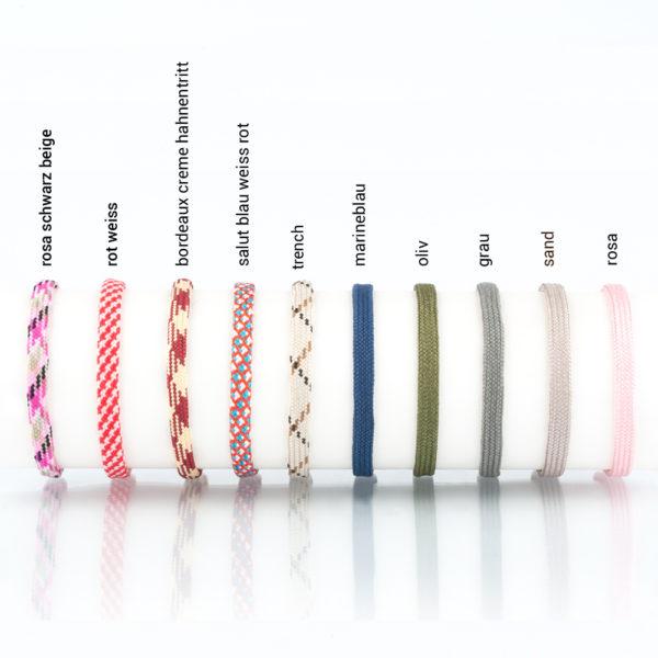 In diesen Farben gibt es das Maskenband. bordeaux creme hahnentritt, salut blau weiss rot, marineblau, oliv, sand, rosa, trench